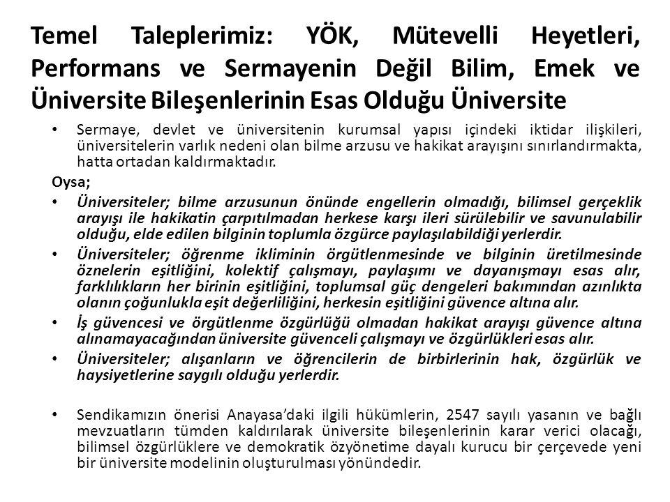 Temel Taleplerimiz: YÖK, Mütevelli Heyetleri, Performans ve Sermayenin Değil Bilim, Emek ve Üniversite Bileşenlerinin Esas Olduğu Üniversite