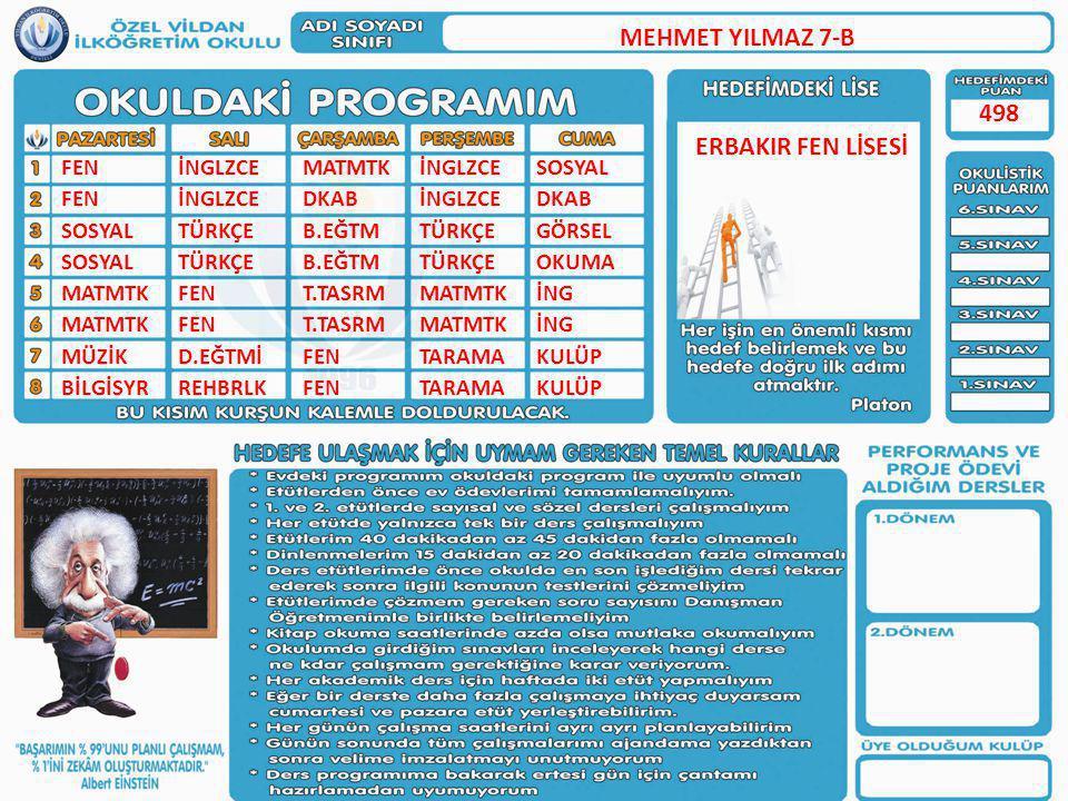 MEHMET YILMAZ 7-B 498 ERBAKIR FEN LİSESİ FEN SOSYAL MATMTK MÜZİK