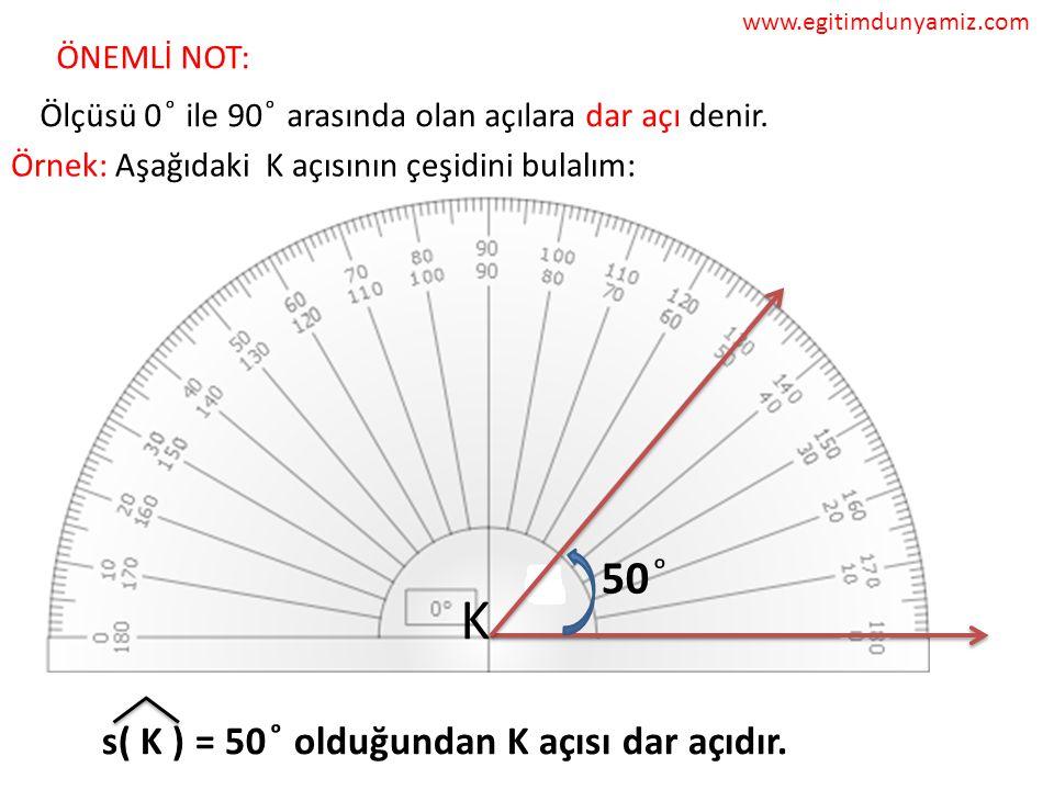 K 50 ͦ s( K ) = 50 ͦ olduğundan K açısı dar açıdır. ÖNEMLİ NOT: