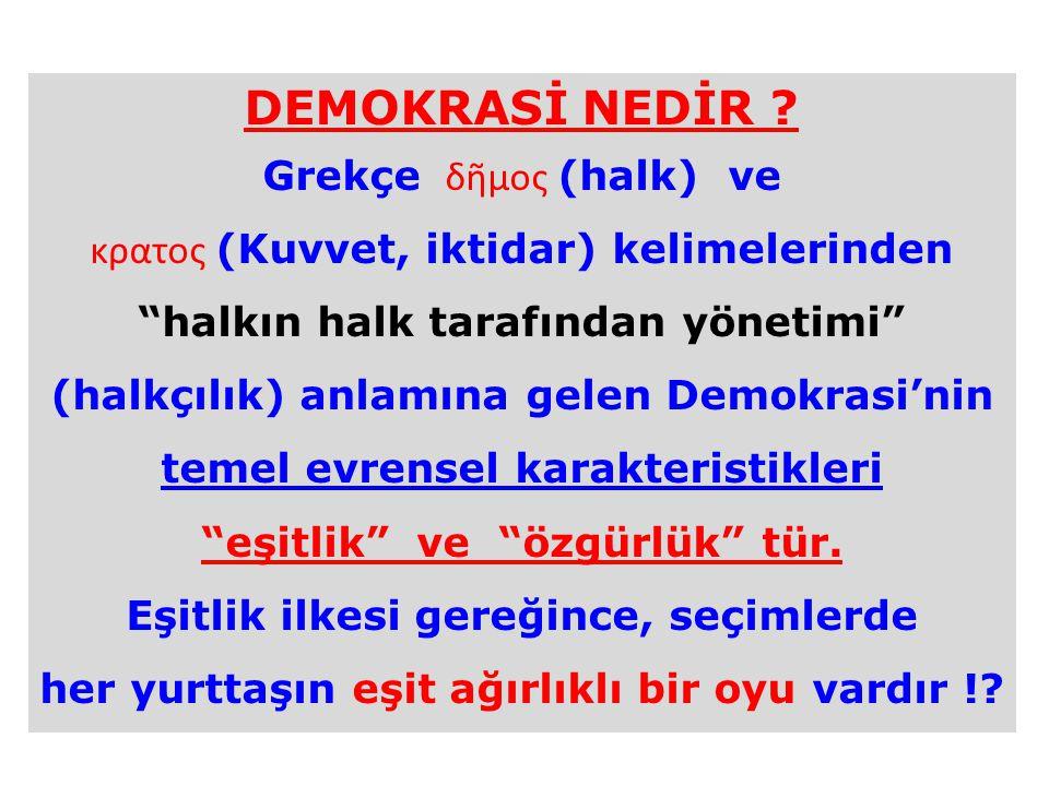 DEMOKRASİ NEDİR Grekçe δῆμος (halk) ve