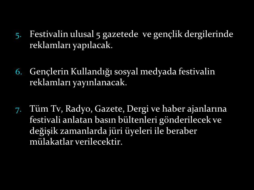 Festivalin ulusal 5 gazetede ve gençlik dergilerinde reklamları yapılacak.