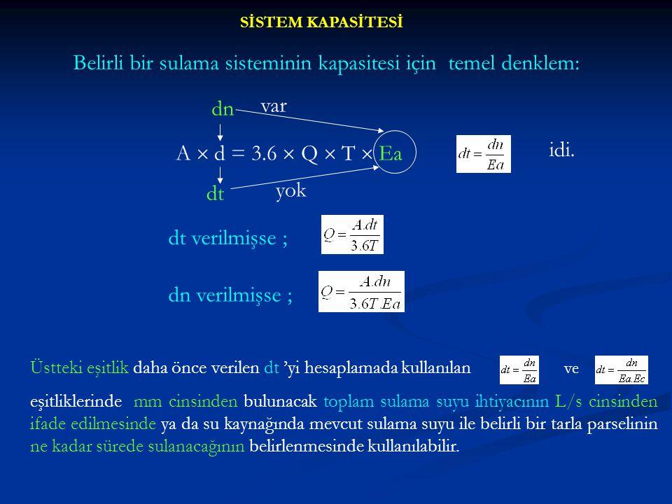 Belirli bir sulama sisteminin kapasitesi için temel denklem:
