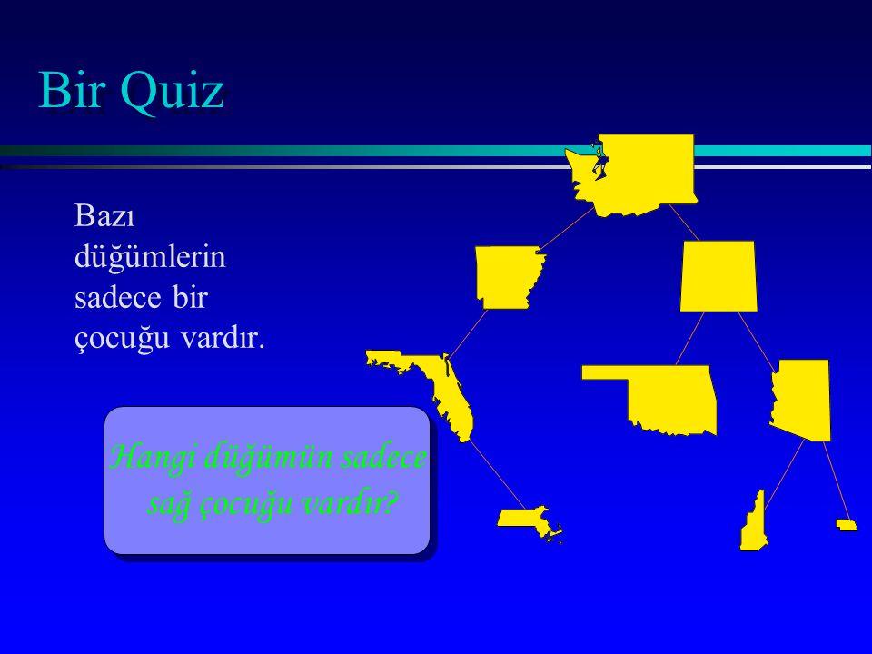 Bir Quiz Hangi düğümün sadece sağ çocuğu vardır