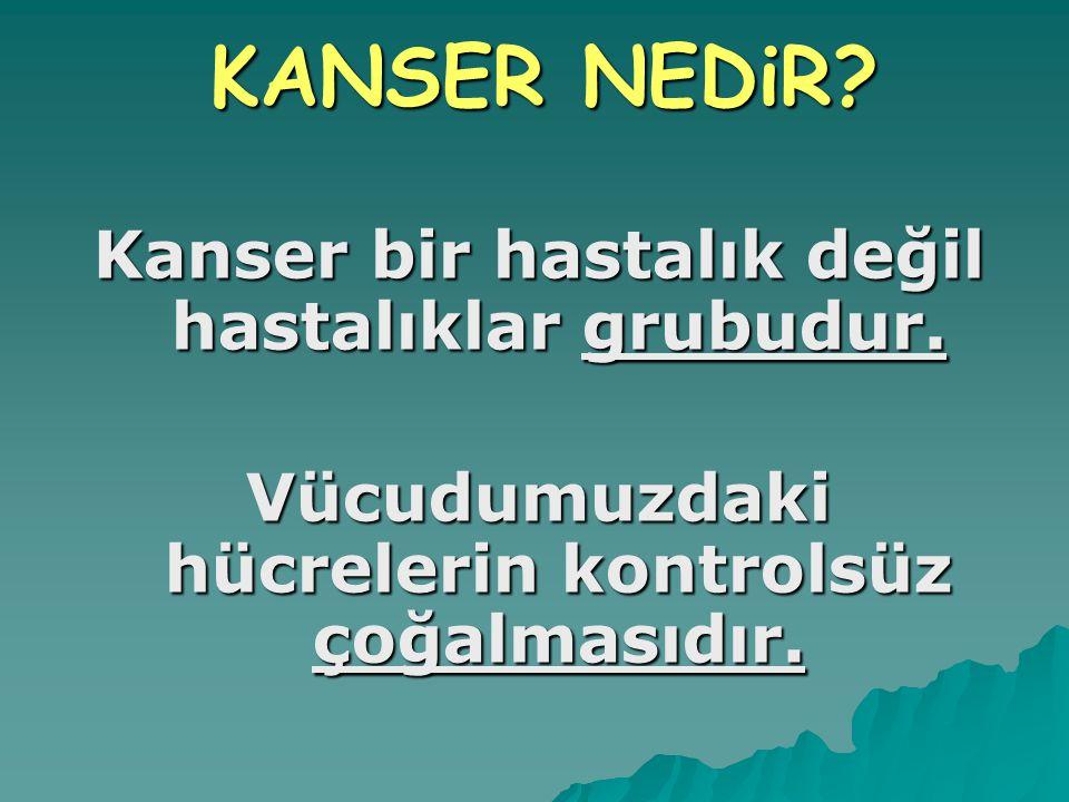 KANSER NEDiR Kanser bir hastalık değil hastalıklar grubudur.