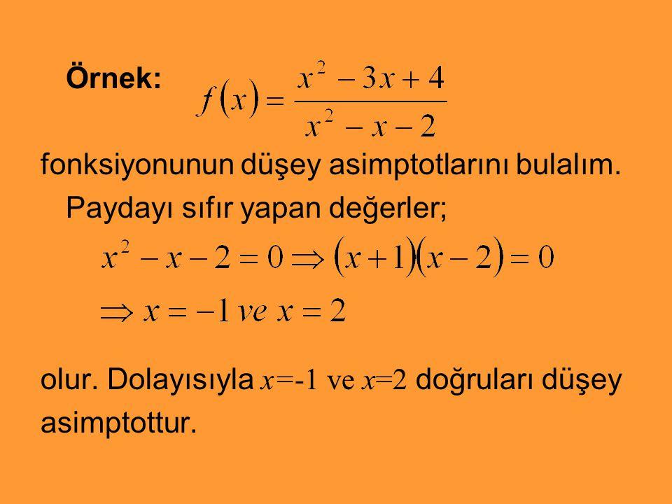 Örnek: fonksiyonunun düşey asimptotlarını bulalım. Paydayı sıfır yapan değerler; olur. Dolayısıyla x=-1 ve x=2 doğruları düşey.