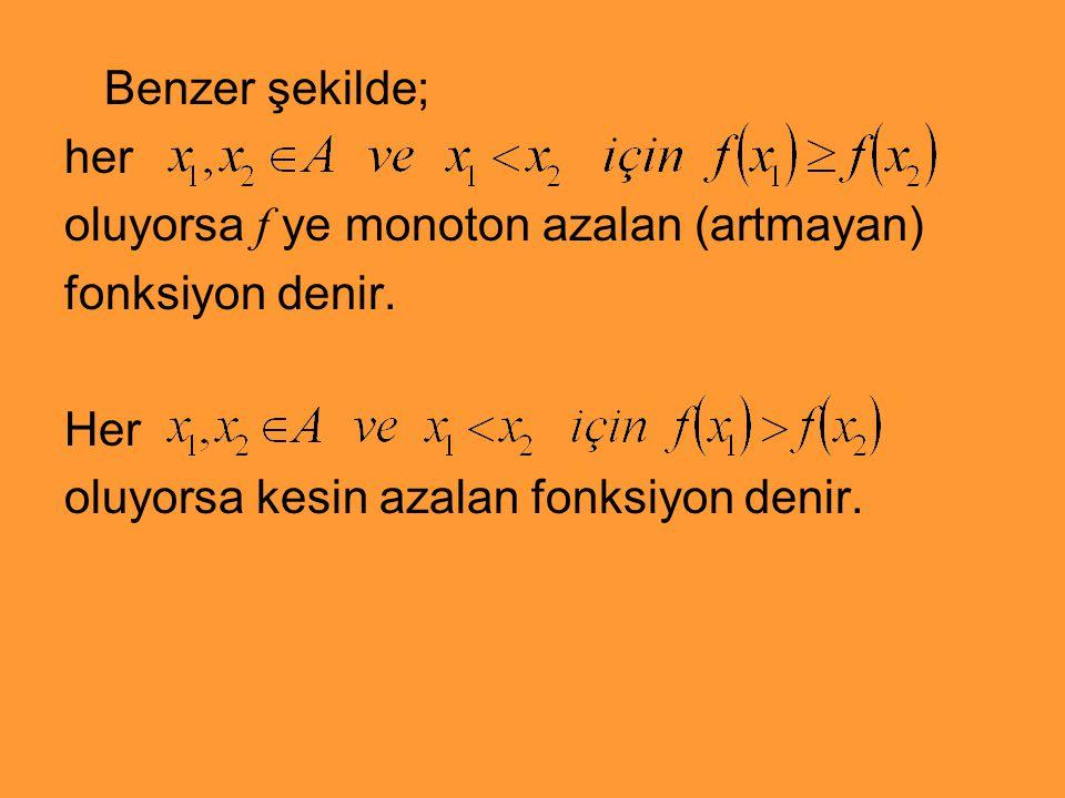 Benzer şekilde; her. oluyorsa f ye monoton azalan (artmayan) fonksiyon denir.