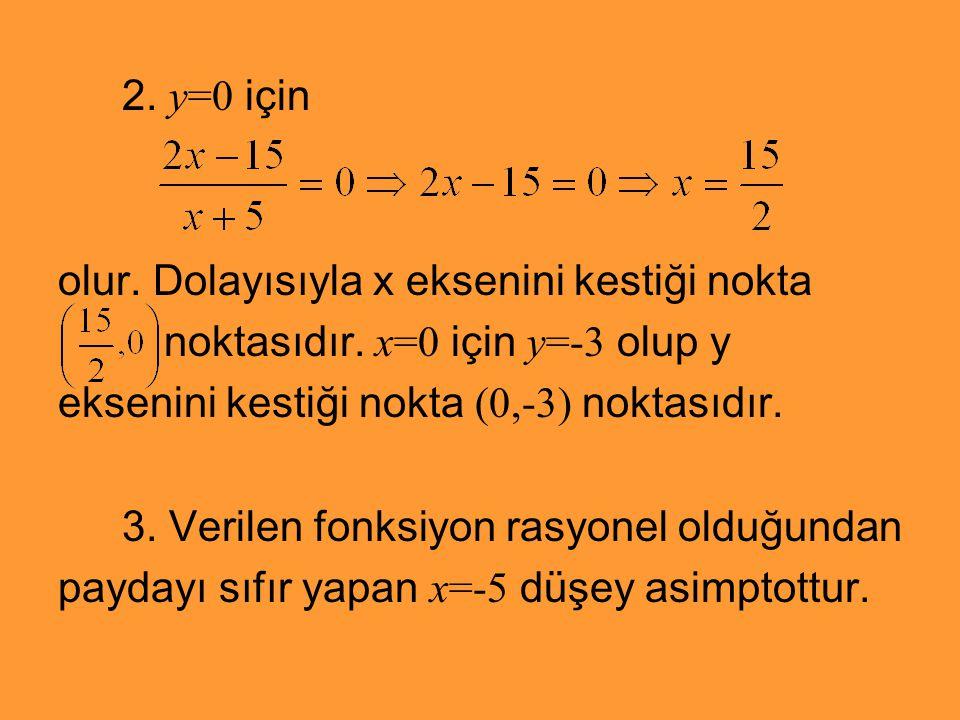 2. y=0 için olur. Dolayısıyla x eksenini kestiği nokta. noktasıdır. x=0 için y=-3 olup y. eksenini kestiği nokta (0,-3) noktasıdır.