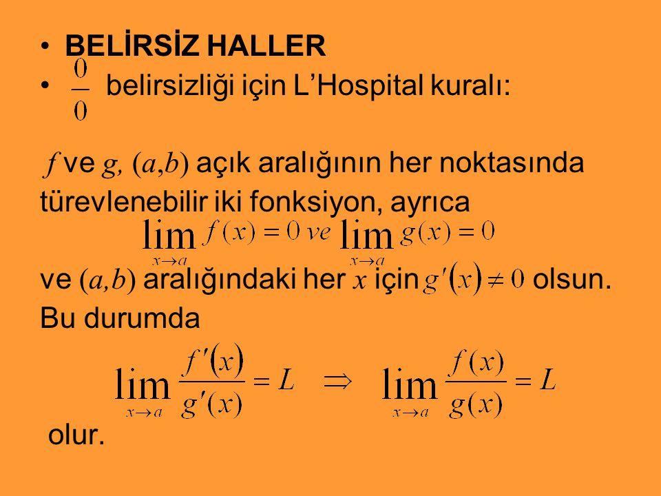 BELİRSİZ HALLER belirsizliği için L'Hospital kuralı: f ve g, (a,b) açık aralığının her noktasında.