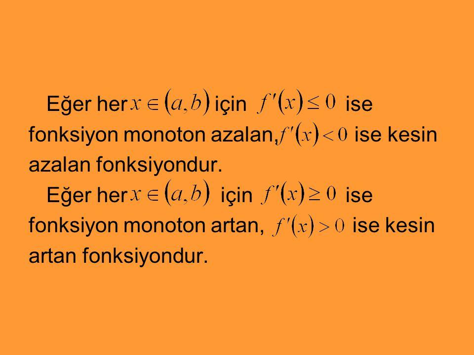Eğer her için ise fonksiyon monoton azalan, ise kesin. azalan fonksiyondur.