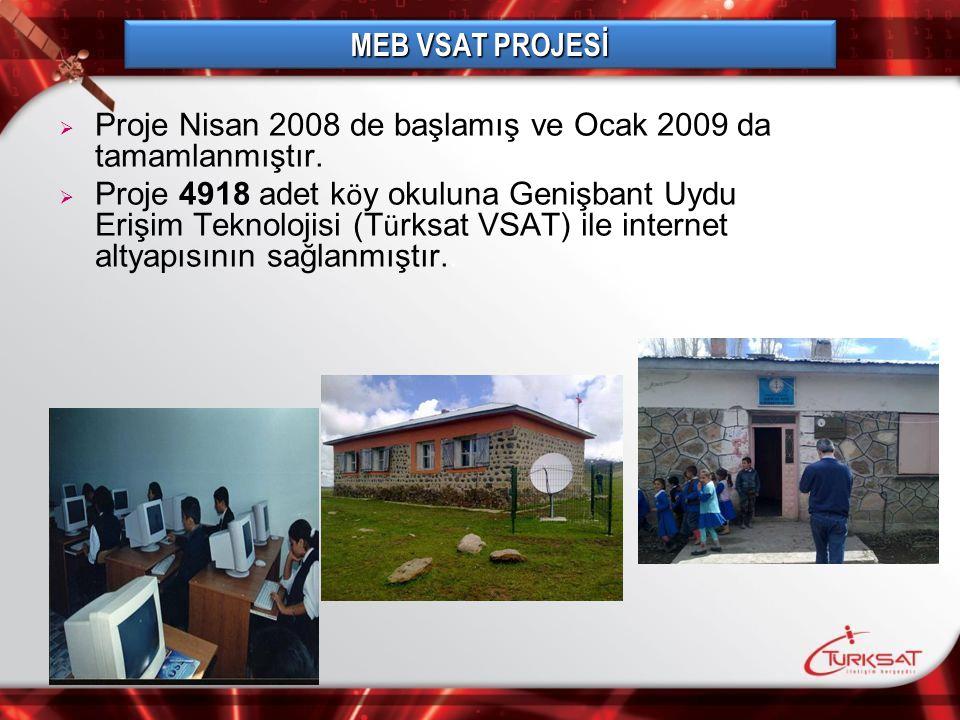MEB VSAT PROJESİ Proje Nisan 2008 de başlamış ve Ocak 2009 da tamamlanmıştır.