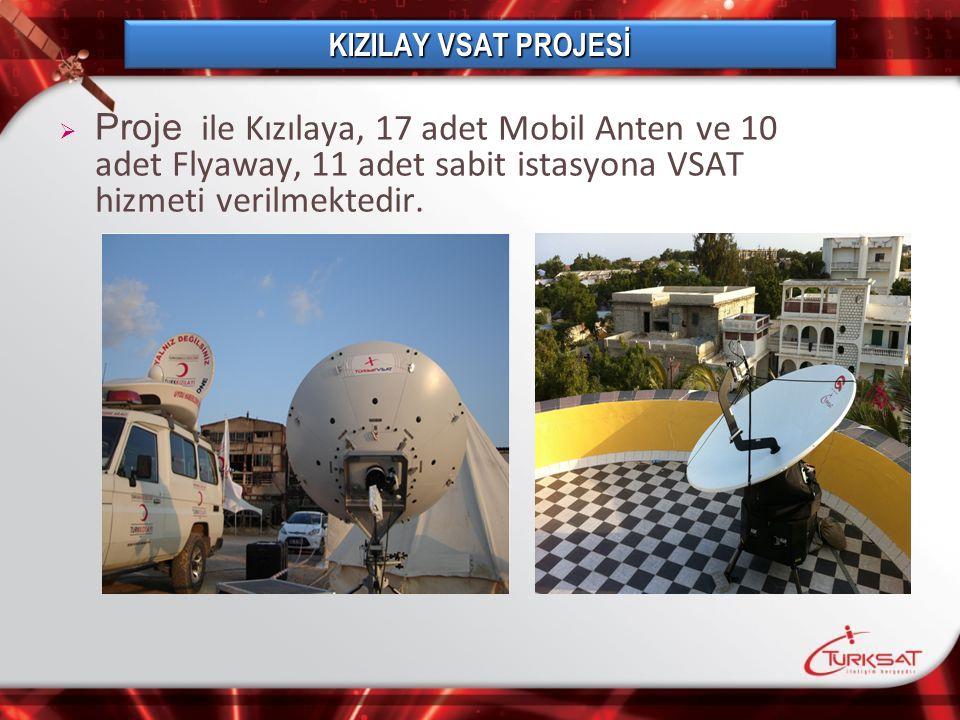 KIZILAY VSAT PROJESİ Proje ile Kızılaya, 17 adet Mobil Anten ve 10 adet Flyaway, 11 adet sabit istasyona VSAT hizmeti verilmektedir.