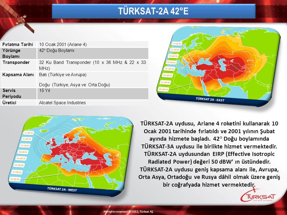 TÜRKSAT-2A 42°E Fırlatma Tarihi. 10 Ocak 2001 (Ariane 4) Yörünge Boylamı. 42° Doğu Boylamı. Transponder.