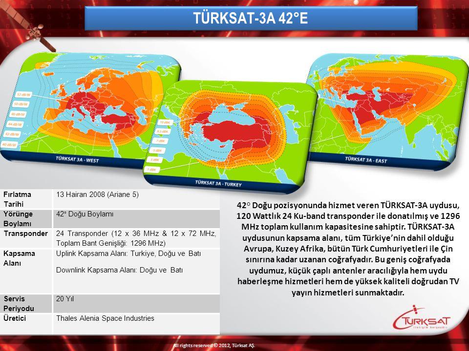 TÜRKSAT-3A 42°E Fırlatma Tarihi. 13 Hairan 2008 (Ariane 5) Yörünge Boylamı. 42° Doğu Boylamı. Transponder.