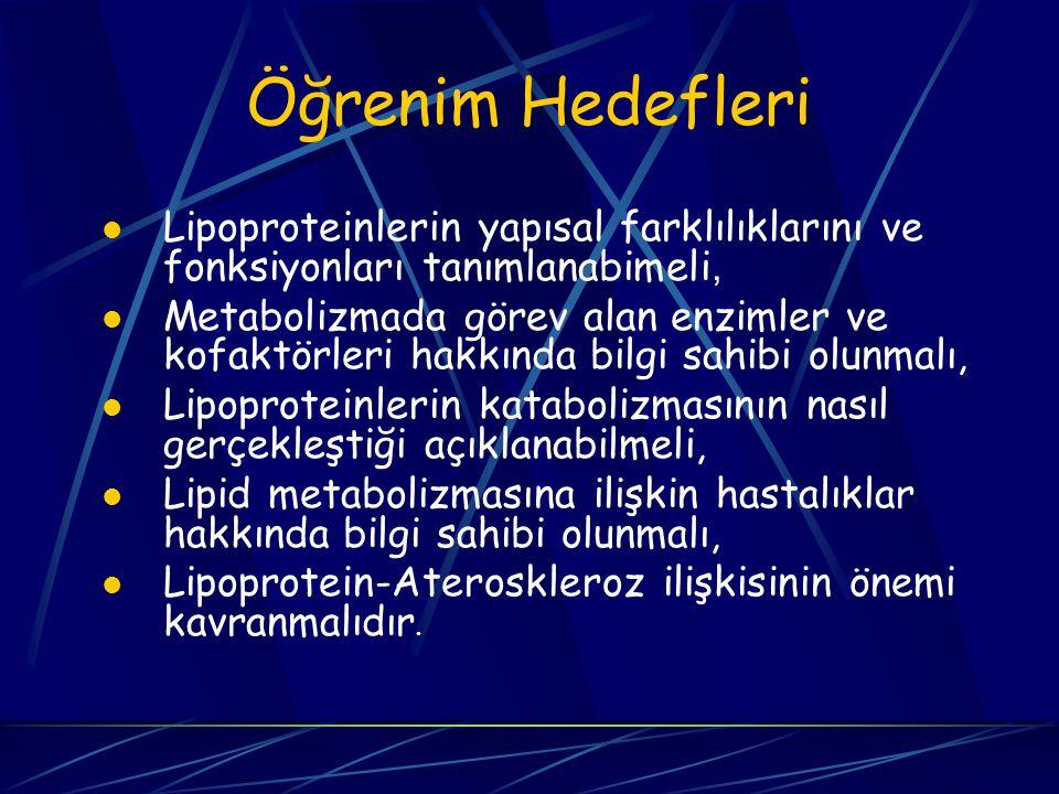 Öğrenim Hedefleri Lipoproteinlerin yapısal farklılıklarını ve fonksiyonları tanımlanabimeli,