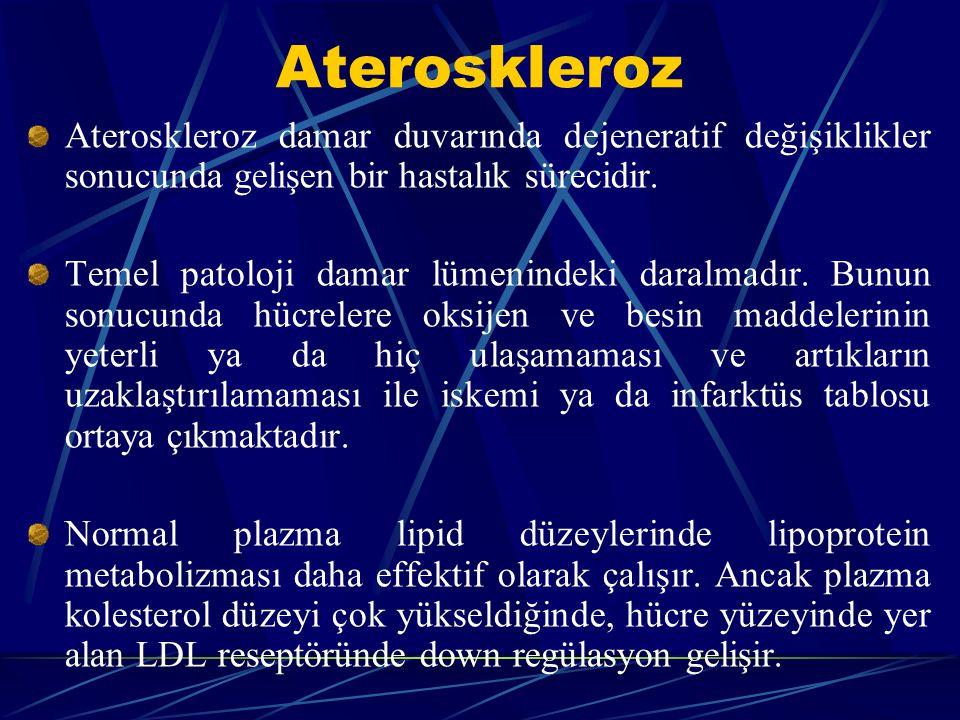 Ateroskleroz Ateroskleroz damar duvarında dejeneratif değişiklikler sonucunda gelişen bir hastalık sürecidir.