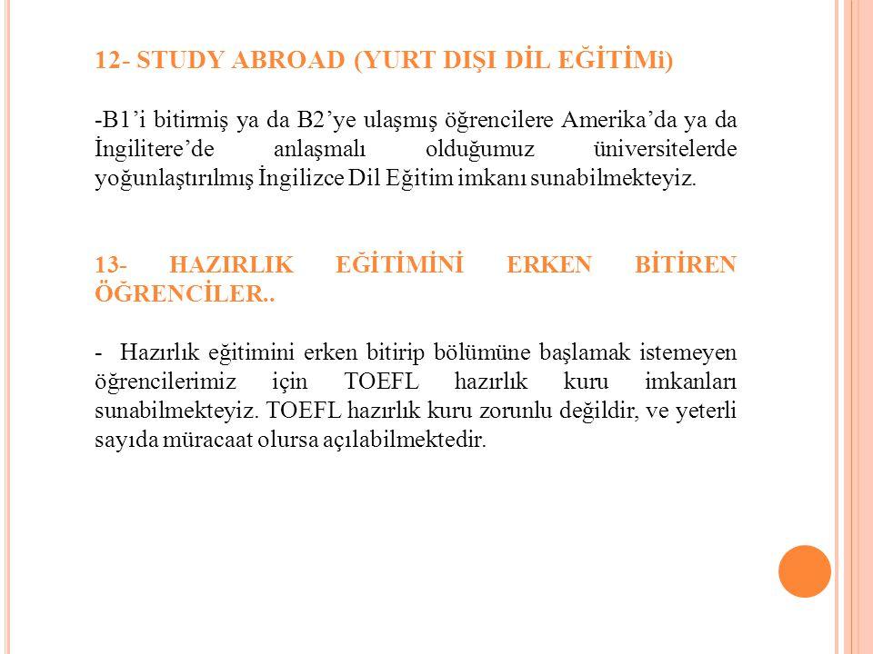 12- STUDY ABROAD (YURT DIŞI DİL EĞİTİMi)