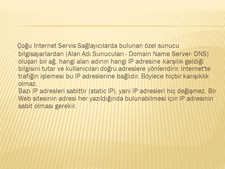 Çoğu Internet Servis Sağlayıcılarda bulunan özel sunucu bilgisayarlardan (Alan Adı Sunucuları - Domain Name Server- DNS) oluşan bir ağ, hangi alan adının hangi IP adresine karşılık geldiği bilgisini tutar ve kullanıcıları doğru adreslere yönlendirir.