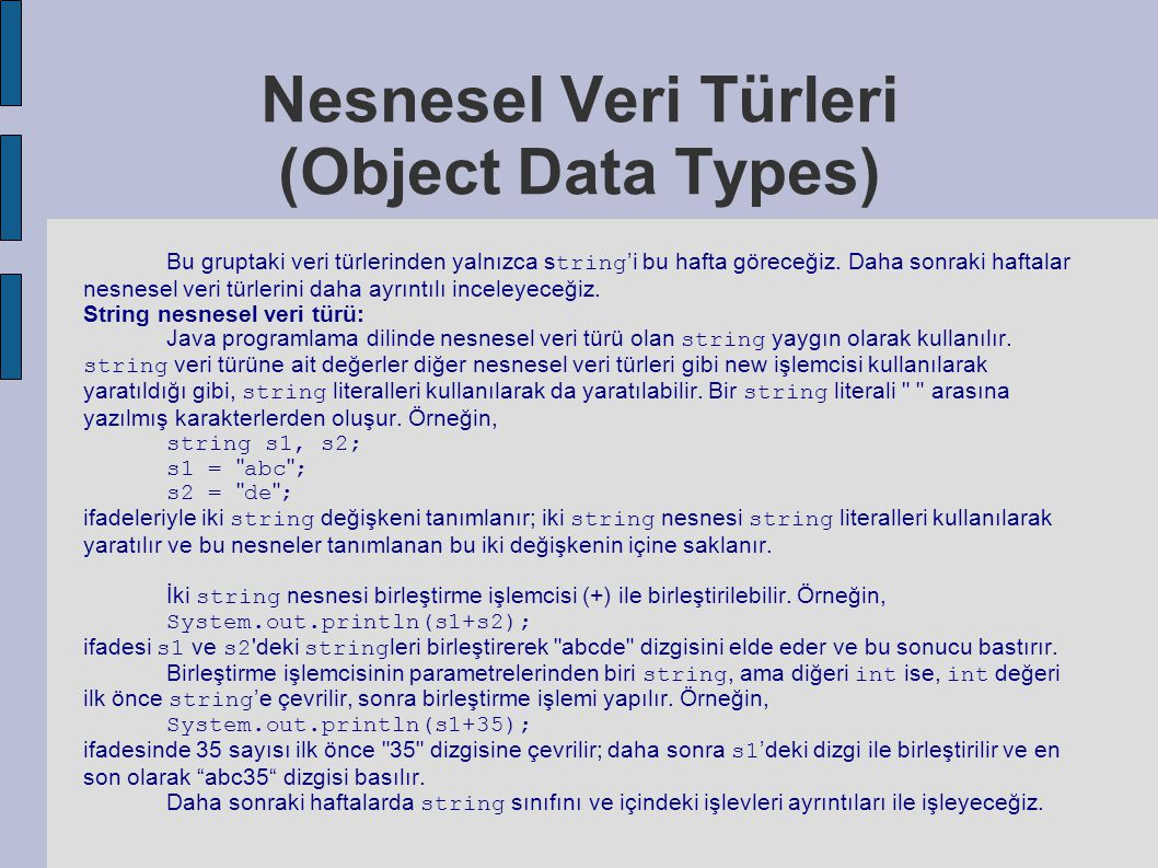 Nesnesel Veri Türleri (Object Data Types)