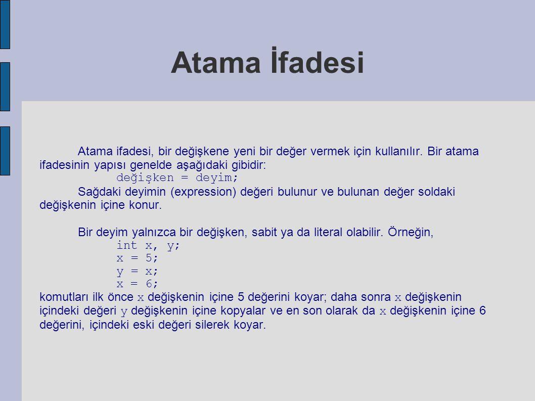 Atama İfadesi Atama ifadesi, bir değişkene yeni bir değer vermek için kullanılır. Bir atama ifadesinin yapısı genelde aşağıdaki gibidir: