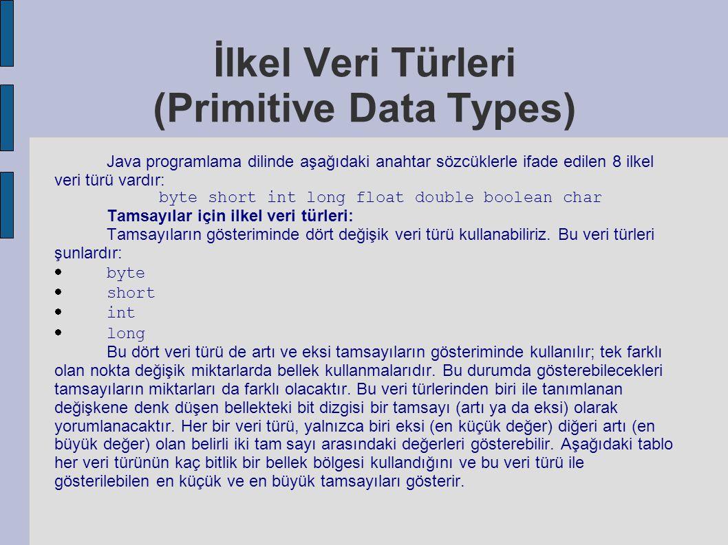İlkel Veri Türleri (Primitive Data Types)