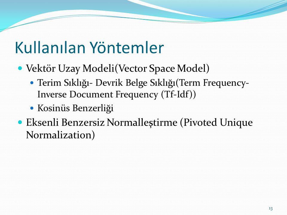 Kullanılan Yöntemler Vektör Uzay Modeli(Vector Space Model)