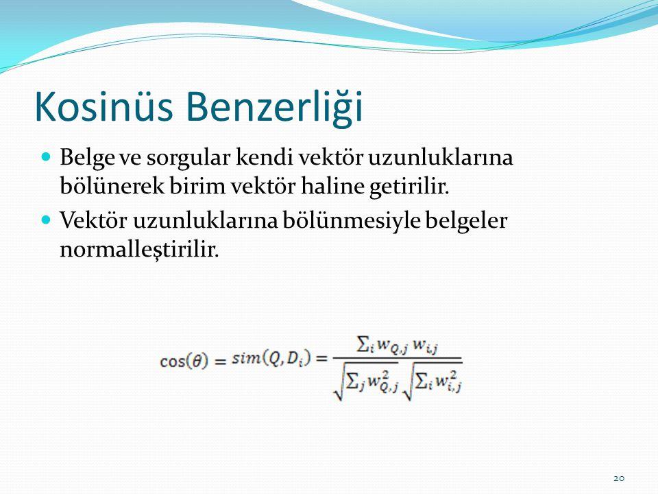 Kosinüs Benzerliği Belge ve sorgular kendi vektör uzunluklarına bölünerek birim vektör haline getirilir.