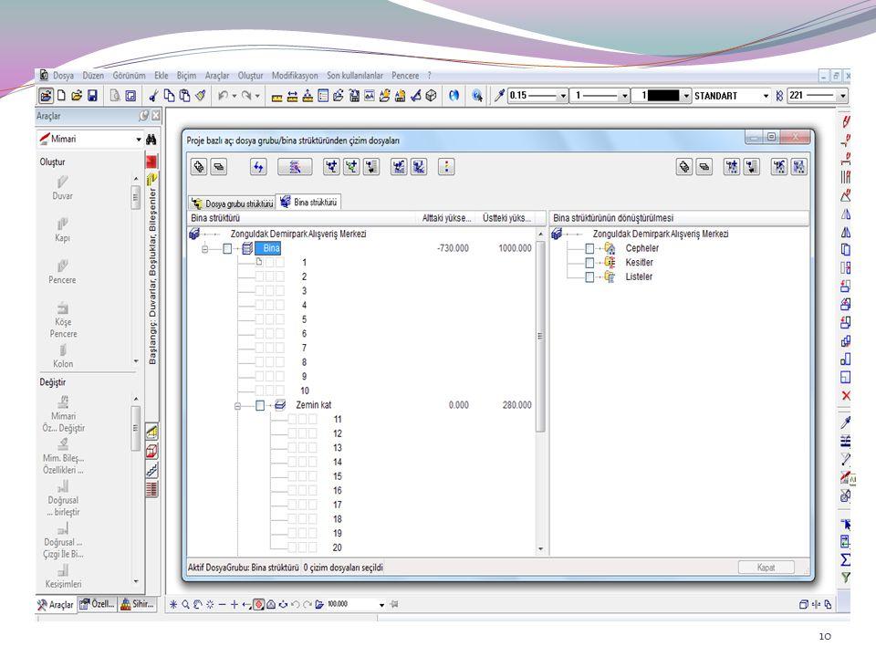 Allplan'da tasarım ve veri oluşturulması işlemleri çizim dosyalarında gerçekleştirilir. Çizim dosyalarını kağıt kalem kullanarak yapılan konvansiyonel çizim sürecinde şeffaf kağıtlar gibi hayal edebilirsiniz. Bilgisayar tabirleri ile aslında her çizim dosyası, bilgisayarda depolanan elektronik bir dokümandır. Çizim dosyaları, projenize bir strüktür kazandırmak için kullanılır.