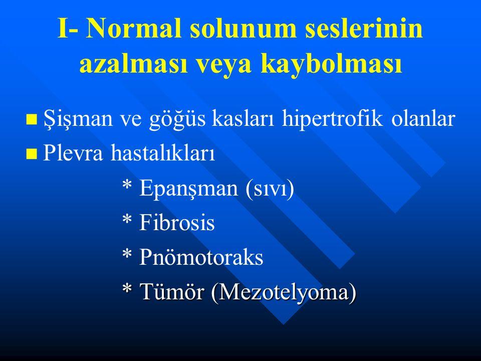 I- Normal solunum seslerinin azalması veya kaybolması