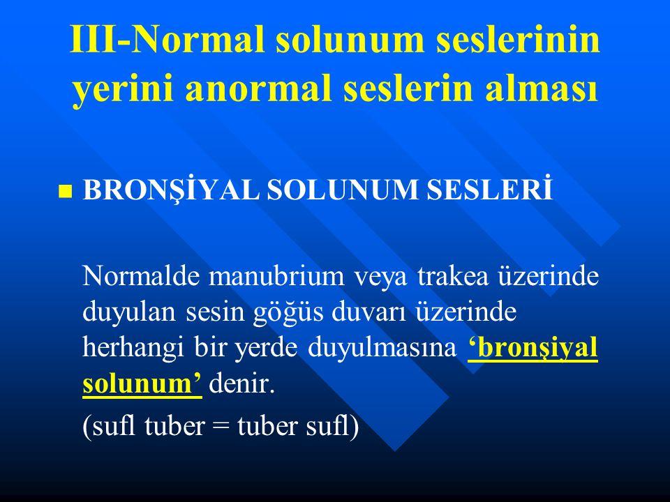 III-Normal solunum seslerinin yerini anormal seslerin alması