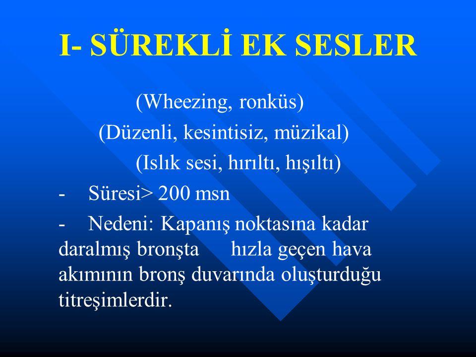 I- SÜREKLİ EK SESLER (Wheezing, ronküs) (Düzenli, kesintisiz, müzikal)