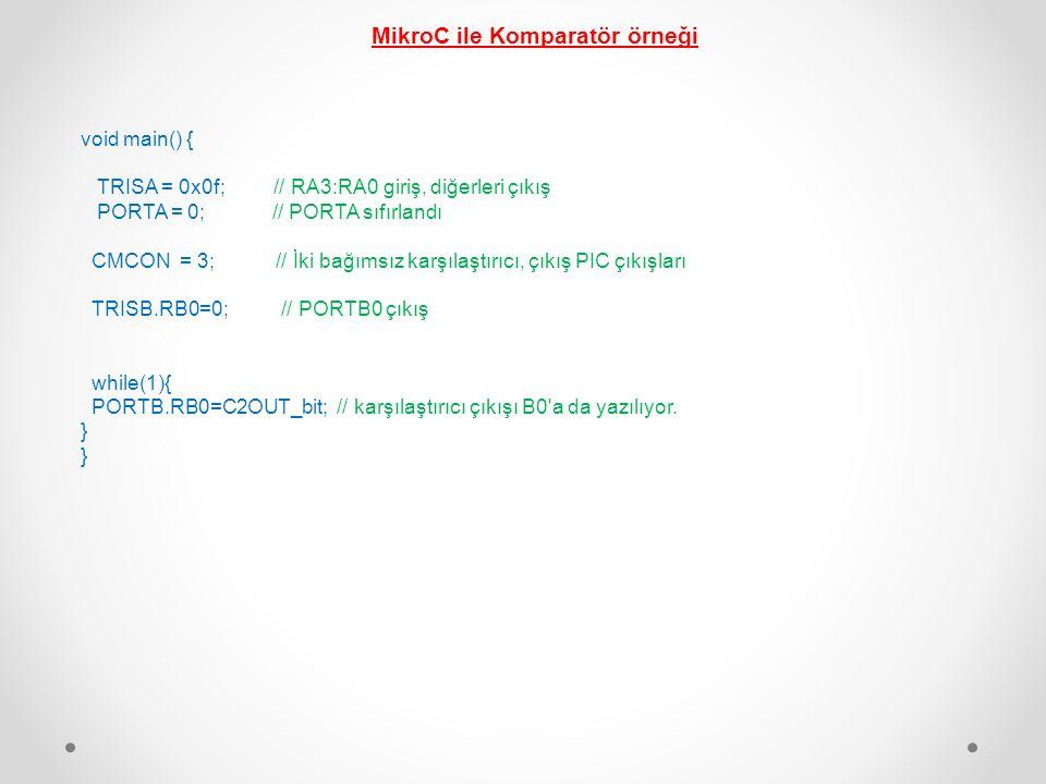 MikroC ile Komparatör örneği