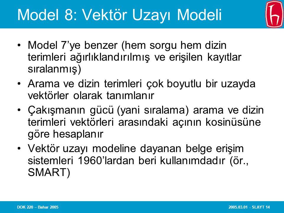 Model 8: Vektör Uzayı Modeli