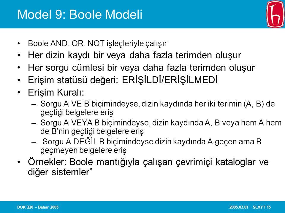 Model 9: Boole Modeli Boole AND, OR, NOT işleçleriyle çalışır. Her dizin kaydı bir veya daha fazla terimden oluşur.