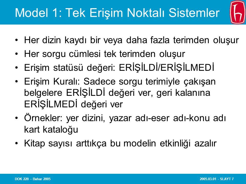 Model 1: Tek Erişim Noktalı Sistemler