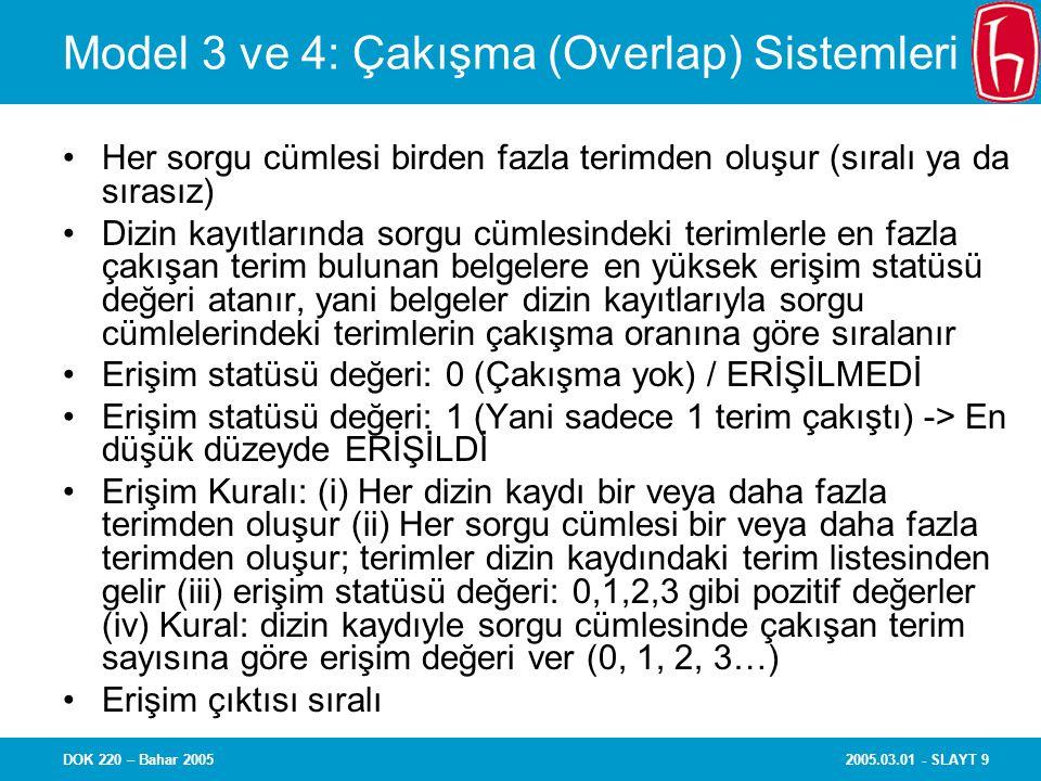 Model 3 ve 4: Çakışma (Overlap) Sistemleri