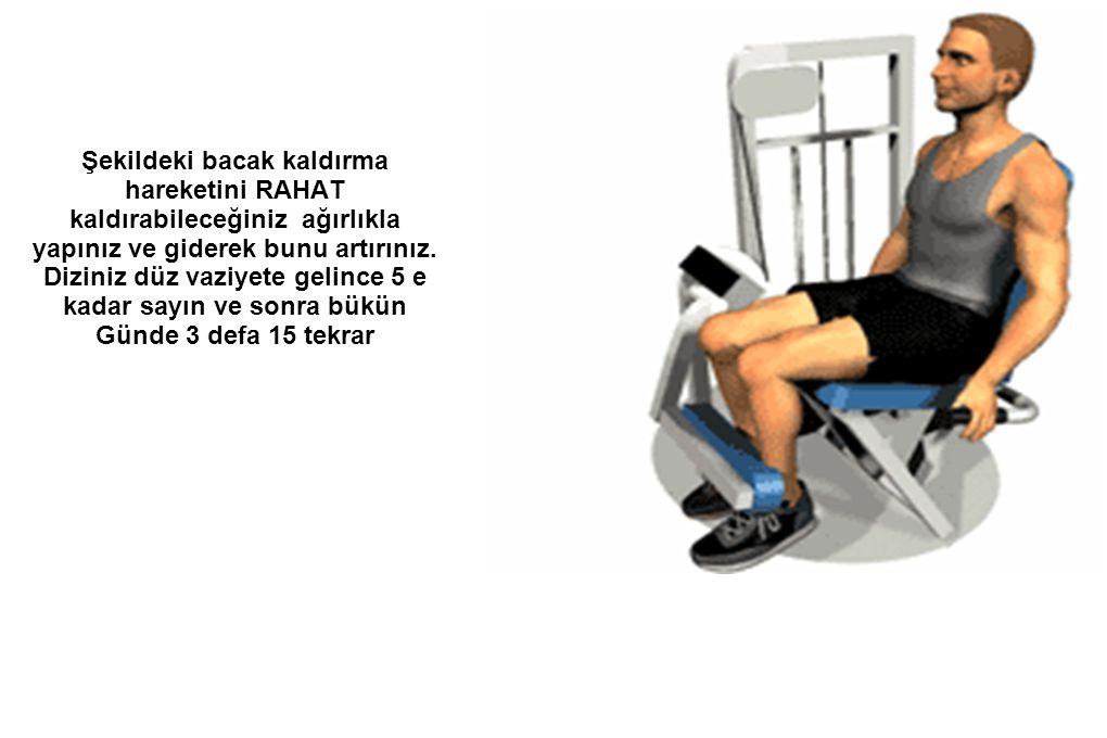 Şekildeki bacak kaldırma hareketini RAHAT kaldırabileceğiniz ağırlıkla yapınız ve giderek bunu artırınız.