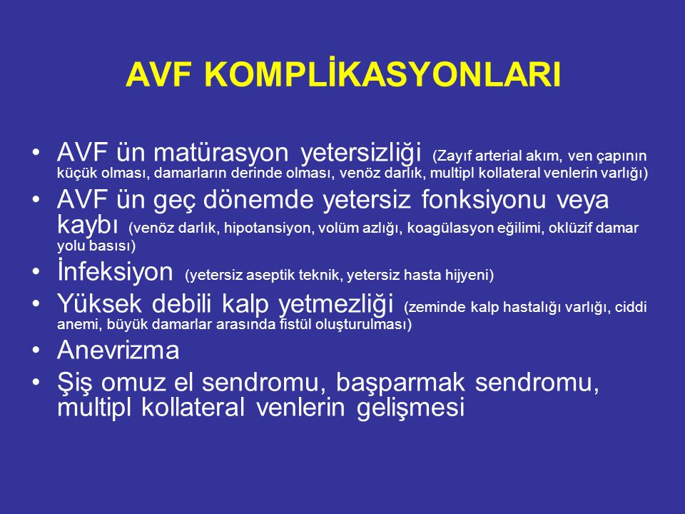 AVF KOMPLİKASYONLARI