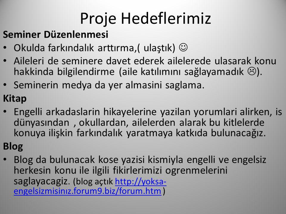 Proje Hedeflerimiz Seminer Düzenlenmesi