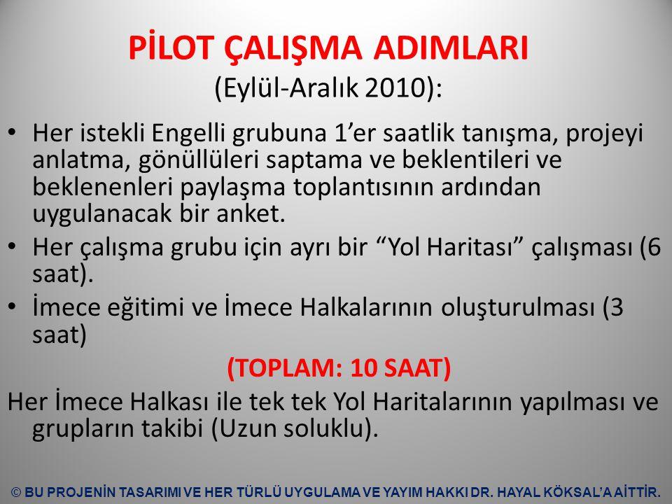 PİLOT ÇALIŞMA ADIMLARI (Eylül-Aralık 2010):