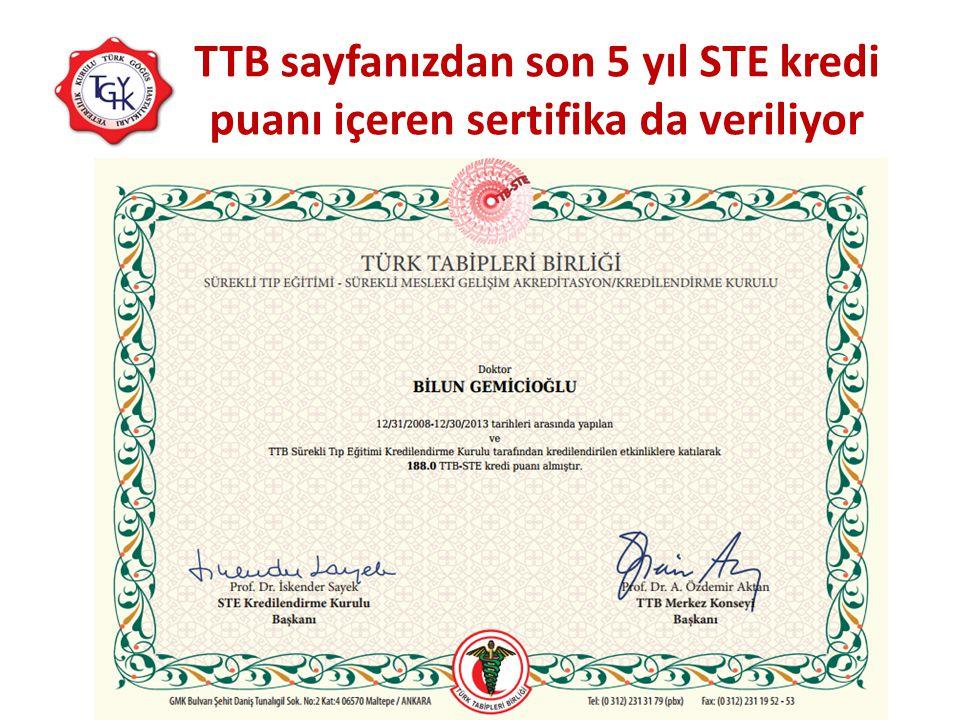 TTB sayfanızdan son 5 yıl STE kredi puanı içeren sertifika da veriliyor