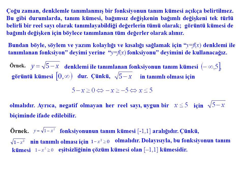 denklemi ile tanımlanan fonksiyonun tanım kümesi görüntü kümesi