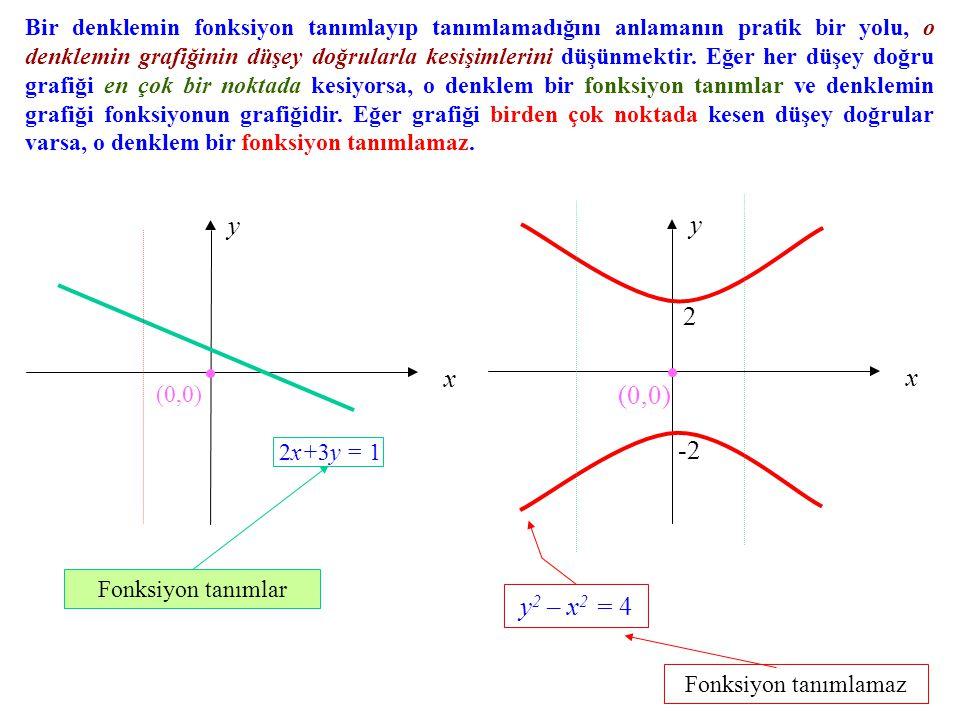 Bir denklemin fonksiyon tanımlayıp tanımlamadığını anlamanın pratik bir yolu, o denklemin grafiğinin düşey doğrularla kesişimlerini düşünmektir. Eğer her düşey doğru grafiği en çok bir noktada kesiyorsa, o denklem bir fonksiyon tanımlar ve denklemin grafiği fonksiyonun grafiğidir. Eğer grafiği birden çok noktada kesen düşey doğrular varsa, o denklem bir fonksiyon tanımlamaz.