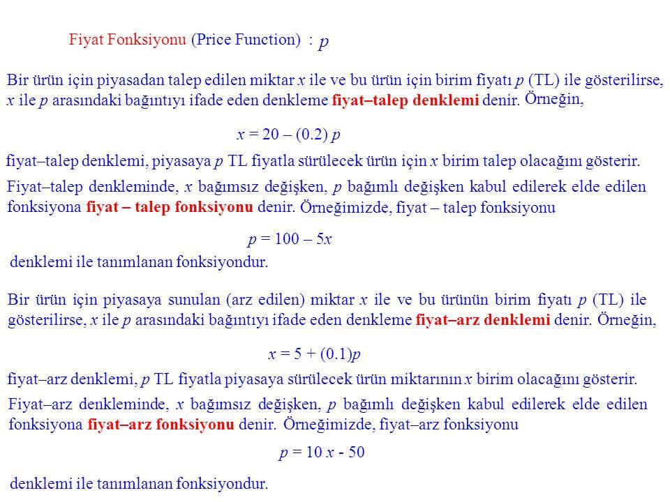 p Fiyat Fonksiyonu (Price Function) :