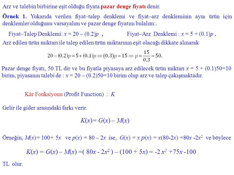K(x) = G(x) – M(x) =( 80x - 2x2 ) – (100 + 5x) = -2 x2 +75x -100