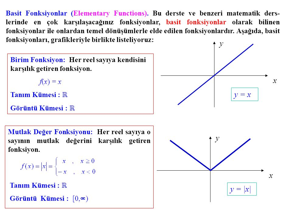 Basit Fonksiyonlar (Elementary Functions)