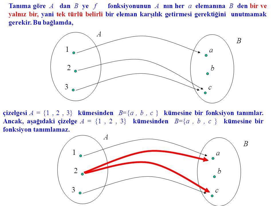 Tanıma göre A dan B ye f fonksiyonunun A nın her a elemanına B den bir ve yalnız bir, yani tek türlü belirli bir eleman karşılık getirmesi gerektiğini unutmamak gerekir. Bu bağlamda,