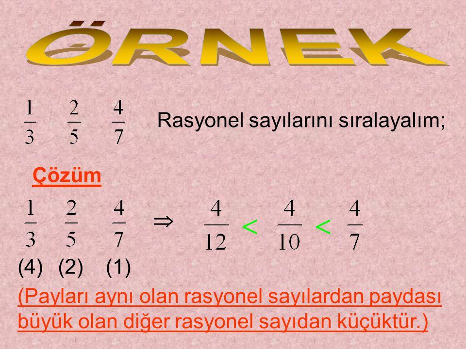   ÖRNEK Rasyonel sayılarını sıralayalım; Çözüm  (4) (2) (1)