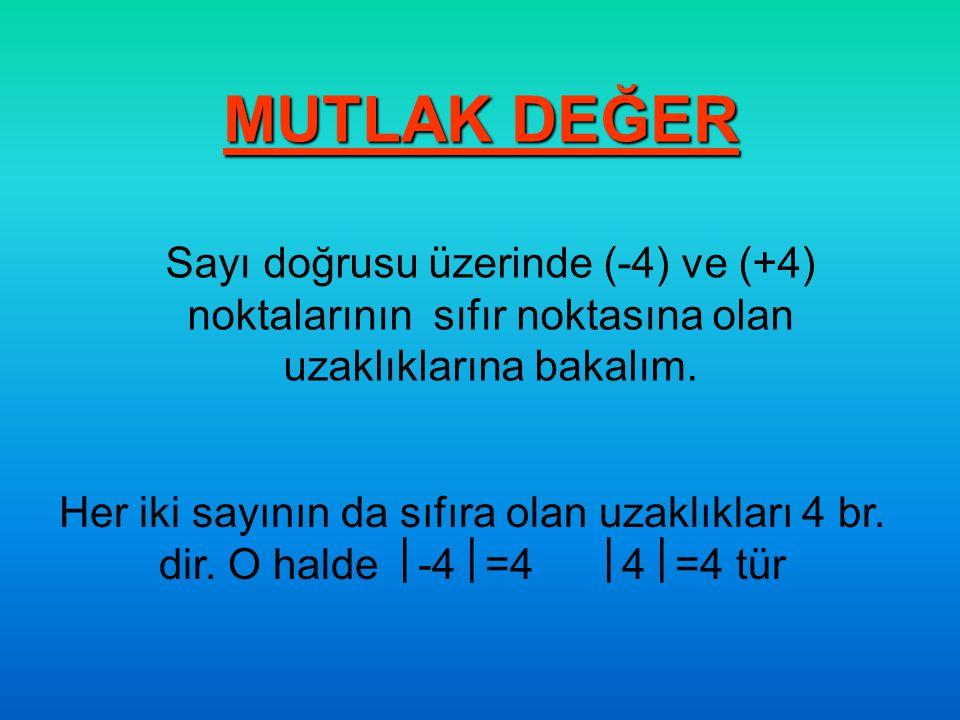 MUTLAK DEĞER Sayı doğrusu üzerinde (-4) ve (+4) noktalarının sıfır noktasına olan uzaklıklarına bakalım.