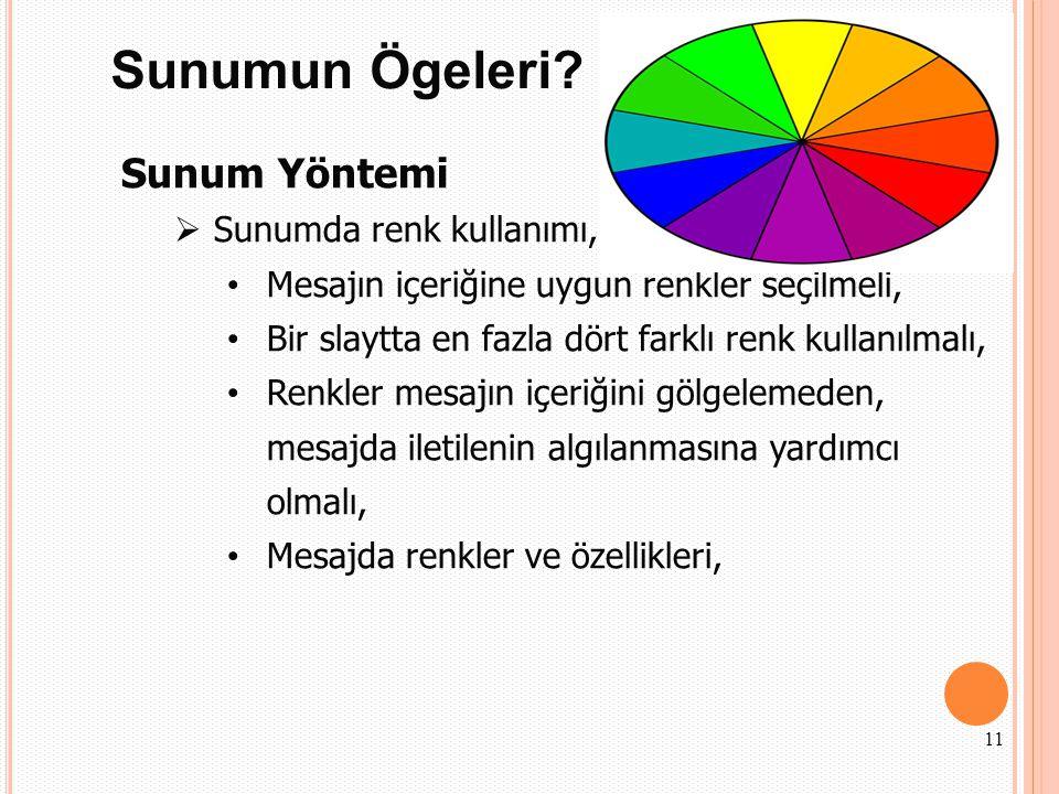 Sunumun Ögeleri Sunum Yöntemi Sunumda renk kullanımı,