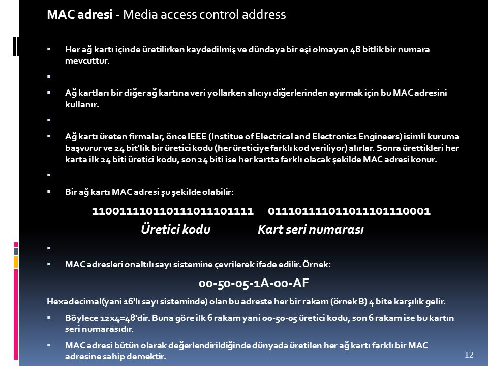 MAC adresi - Media access control address
